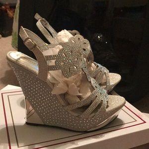 Pierre Dumas jeweled wedge heel